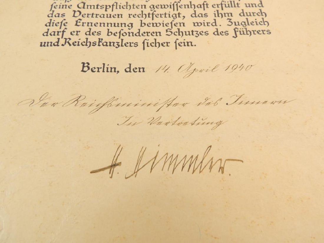 Heinrich Himmler WW2 German Signed Identified Promotion - 4