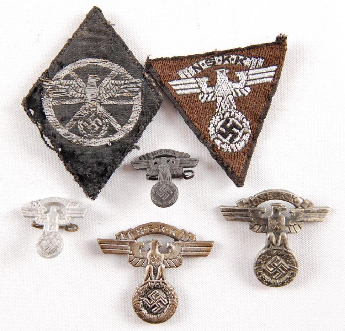 Group of WW2 German NSKK Patches and Pins