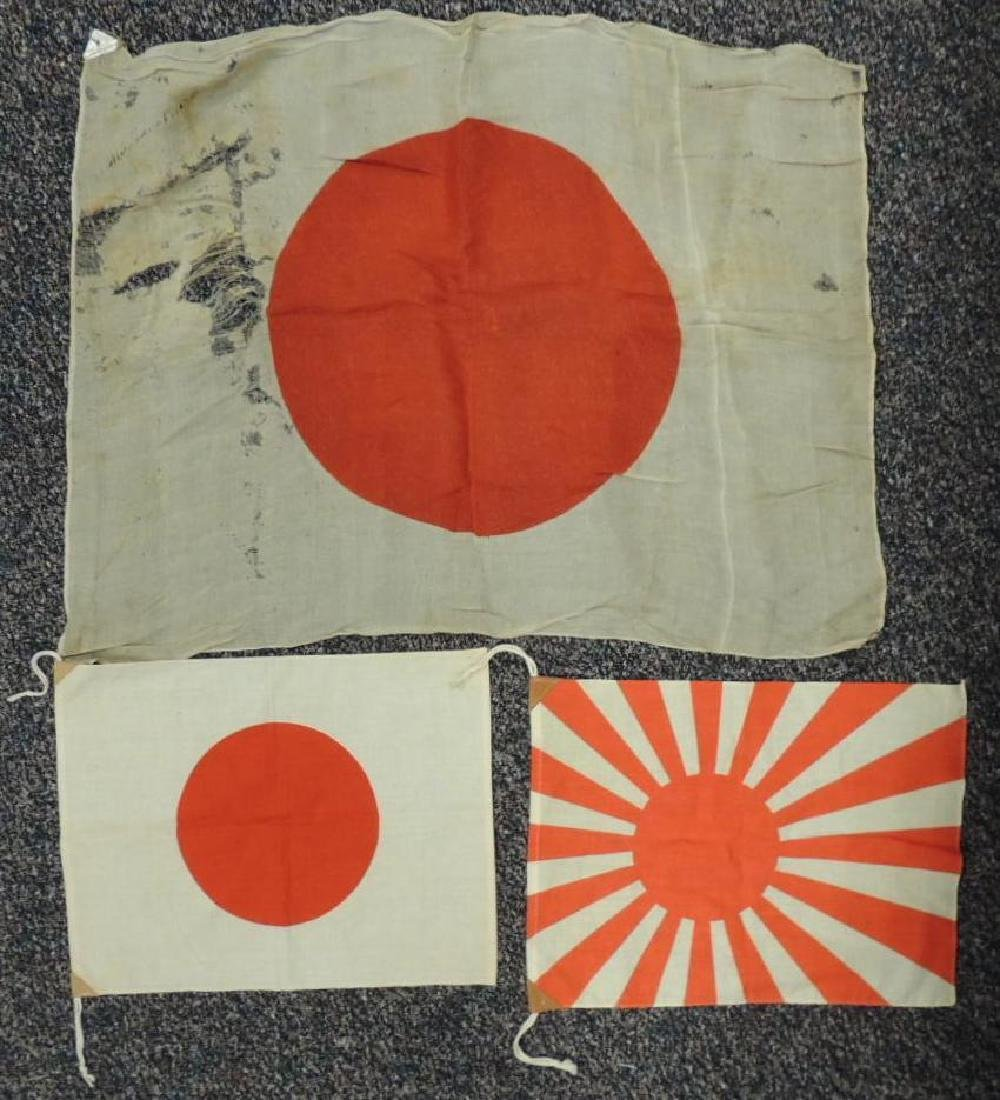 Group of 3 WW2 Japanese Flags