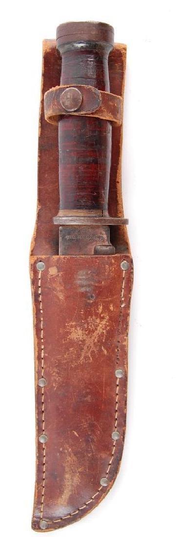 Original WW2 Fighting Knife with Leather Sheath