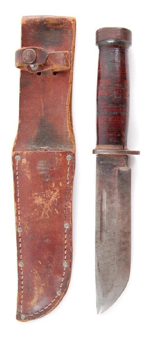 Original WW2 Fighting Knife with Leather Sheath - 2