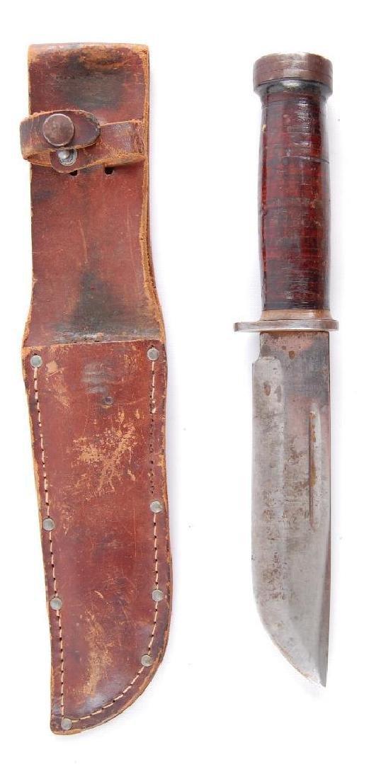 Original WW2 Fighting Knife with Leather Sheath - 4