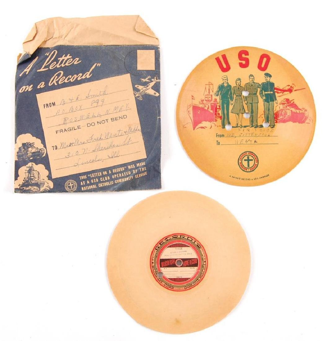 Group of 2 WW2 V-Disc Records Sent Home