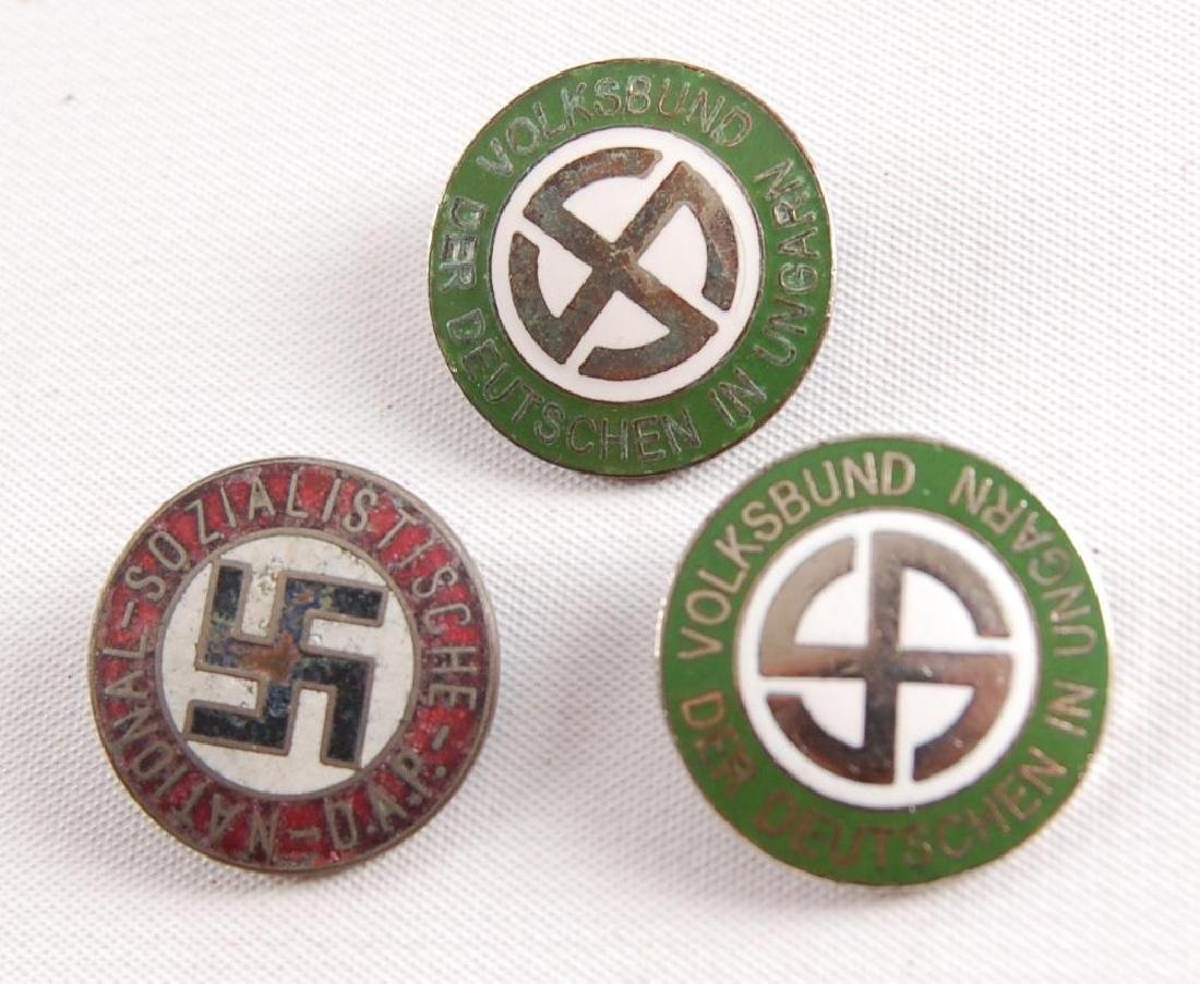 Group of 3 WW2 German Workers Party Pinbacks