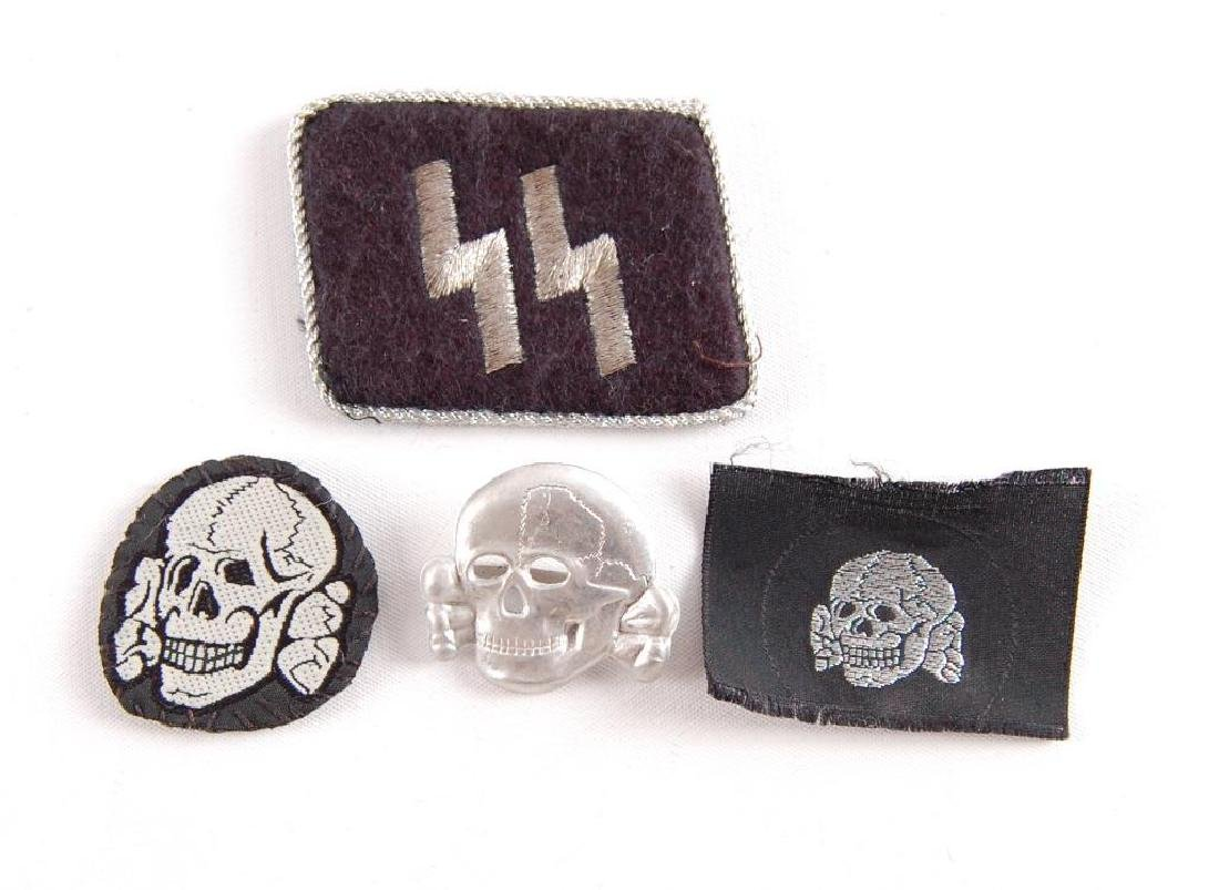 Group of 4 German Style SS Collar Tab, Hat Badge, and