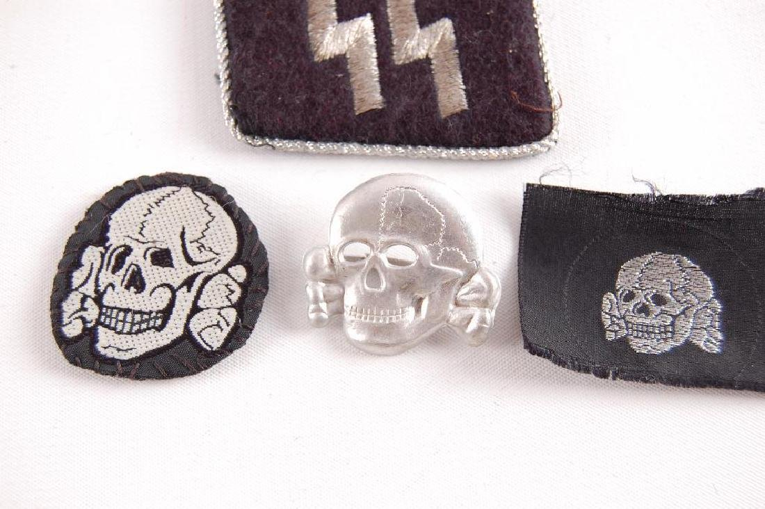 Group of 4 German Style SS Collar Tab, Hat Badge, and - 2
