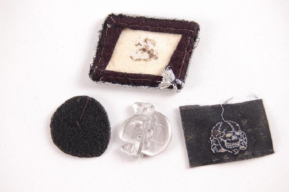 Group of 4 German Style SS Collar Tab, Hat Badge, and - 3