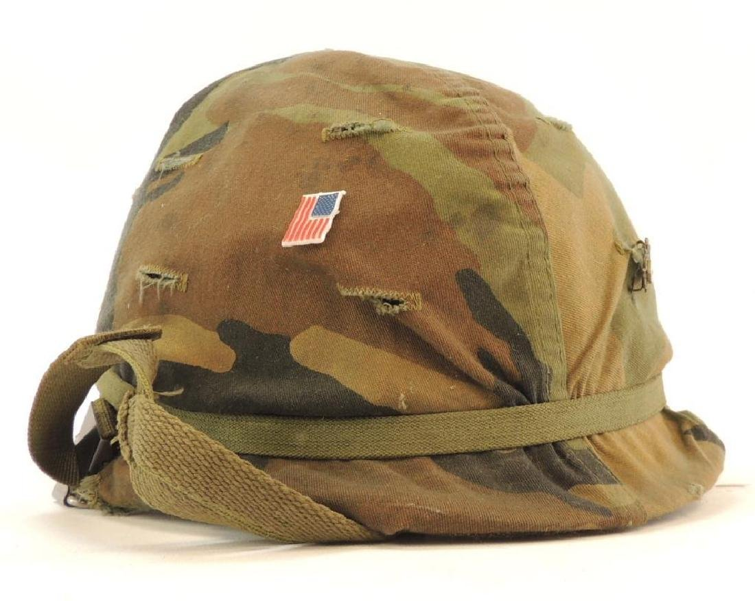 U.S. Army Helmet with Cloth Camo Cover and Liner