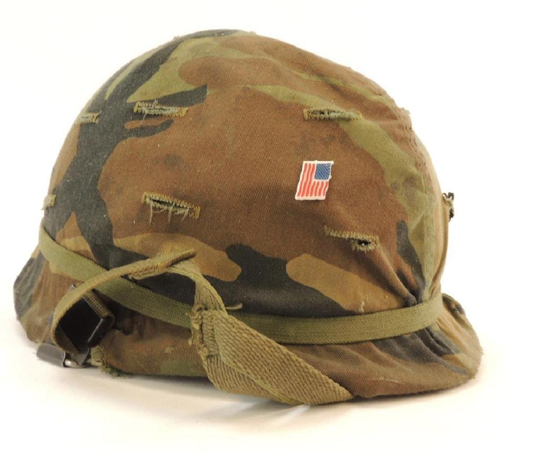 U.S. Army Helmet with Cloth Camo Cover and Liner - 2