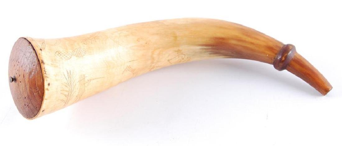 Antique Powder Horn with Hand Carved Design