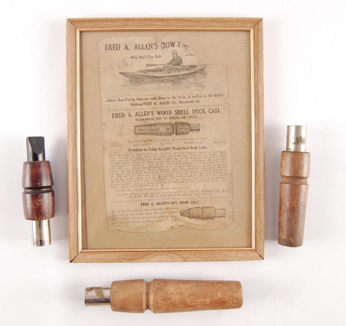 Group of 3 Antique Fred A. Allen Duck Calls with Framed