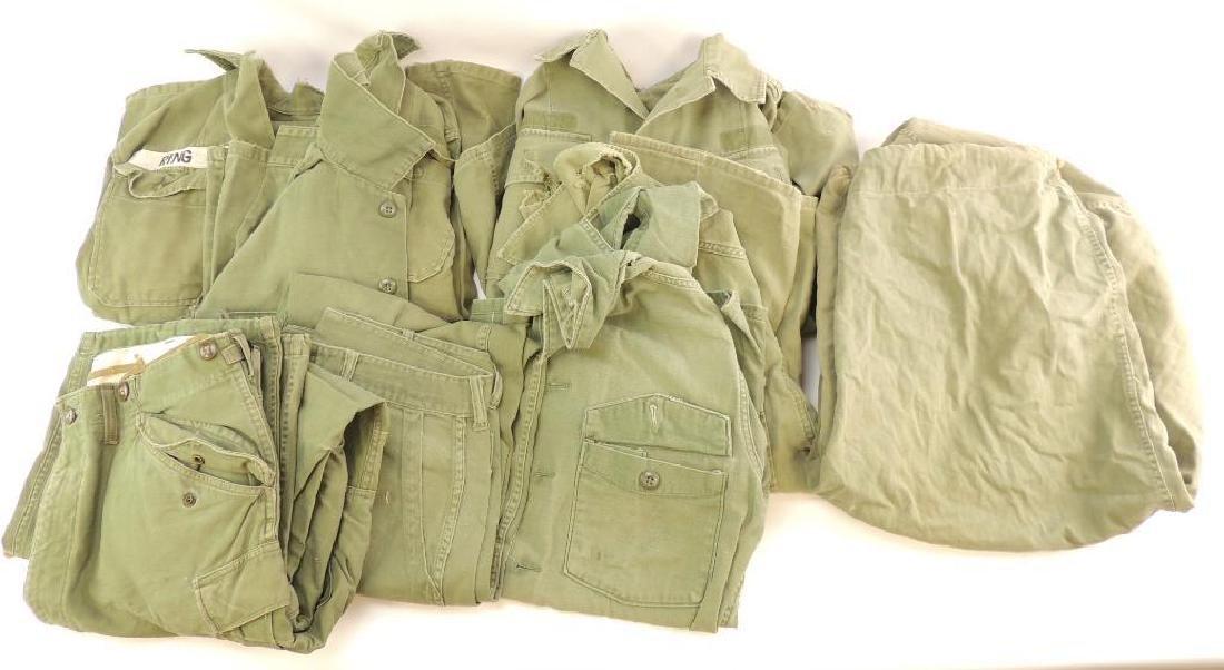Group of 8 WW2 Era U.S. Military Shirts, Pants, and Bag