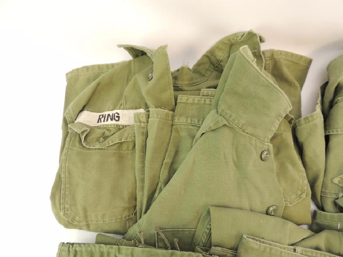 Group of 8 WW2 Era U.S. Military Shirts, Pants, and Bag - 2