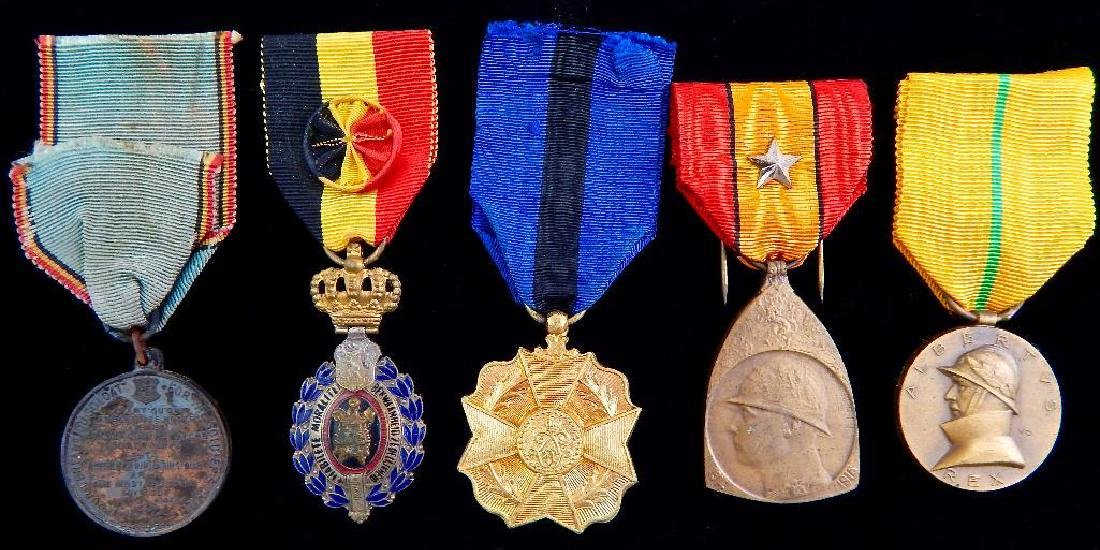 Group of 5 WWI - 1930's Belgian Medals
