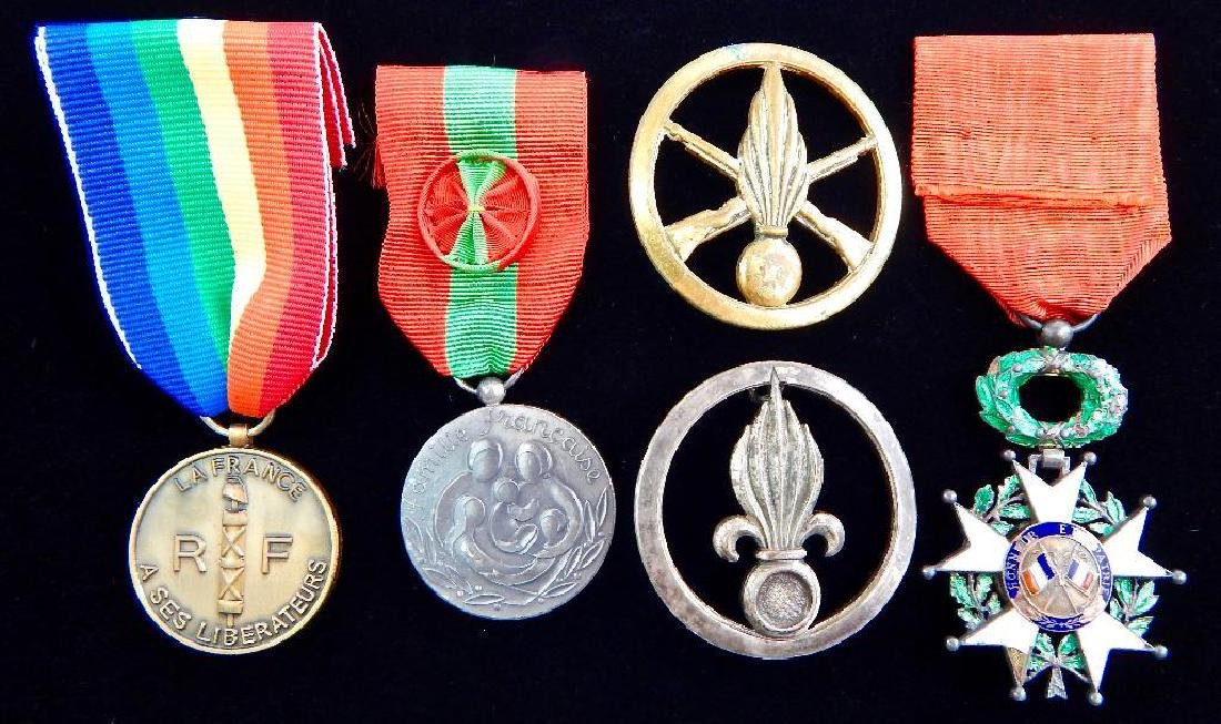 French Medal Lot and 2 Beret Badges