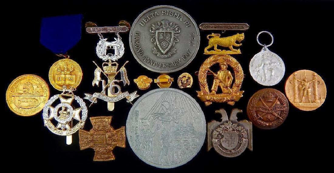 Large Group of British Hat Badges, Pins, and More
