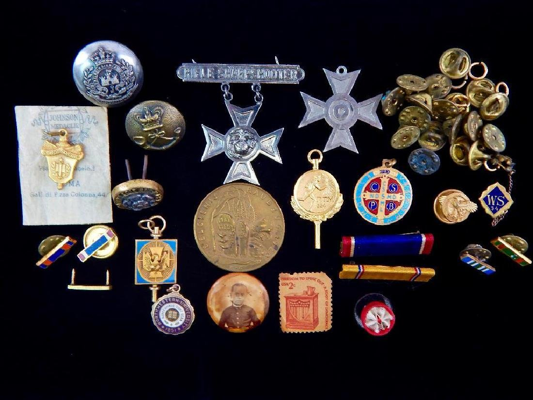Lot of assorted Pins, Clutches, WW2 Ribbons, and