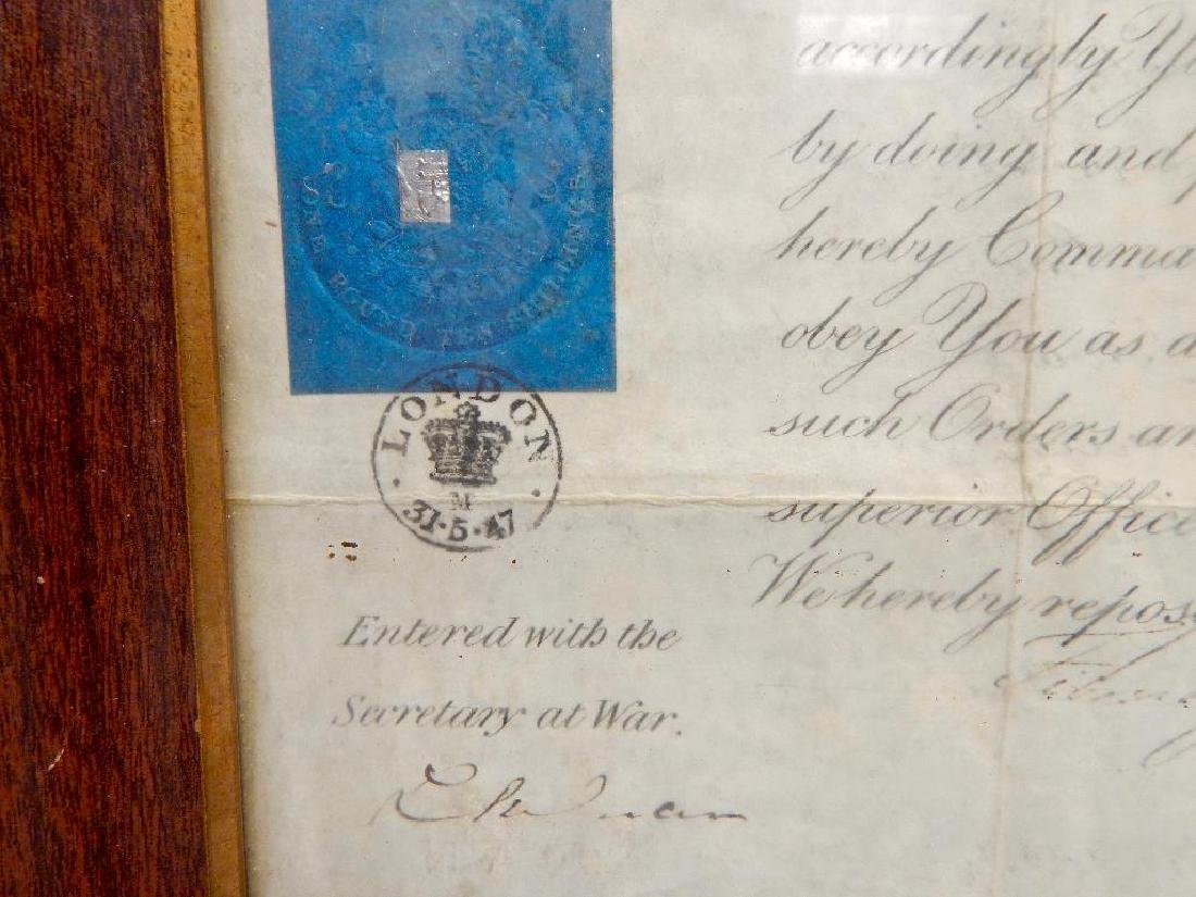 Signed Queen Victoria 1847 Promotion Document - 3