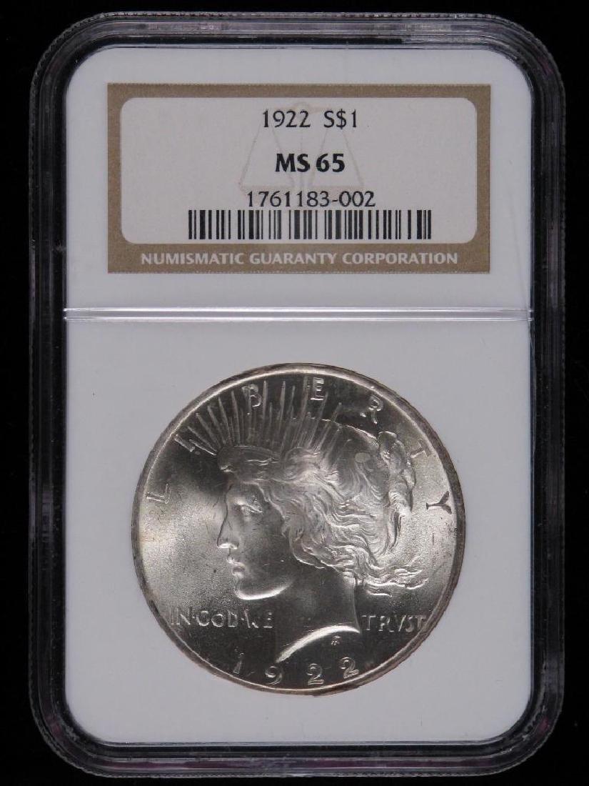 1922-P Peace Dollar NGC MS65