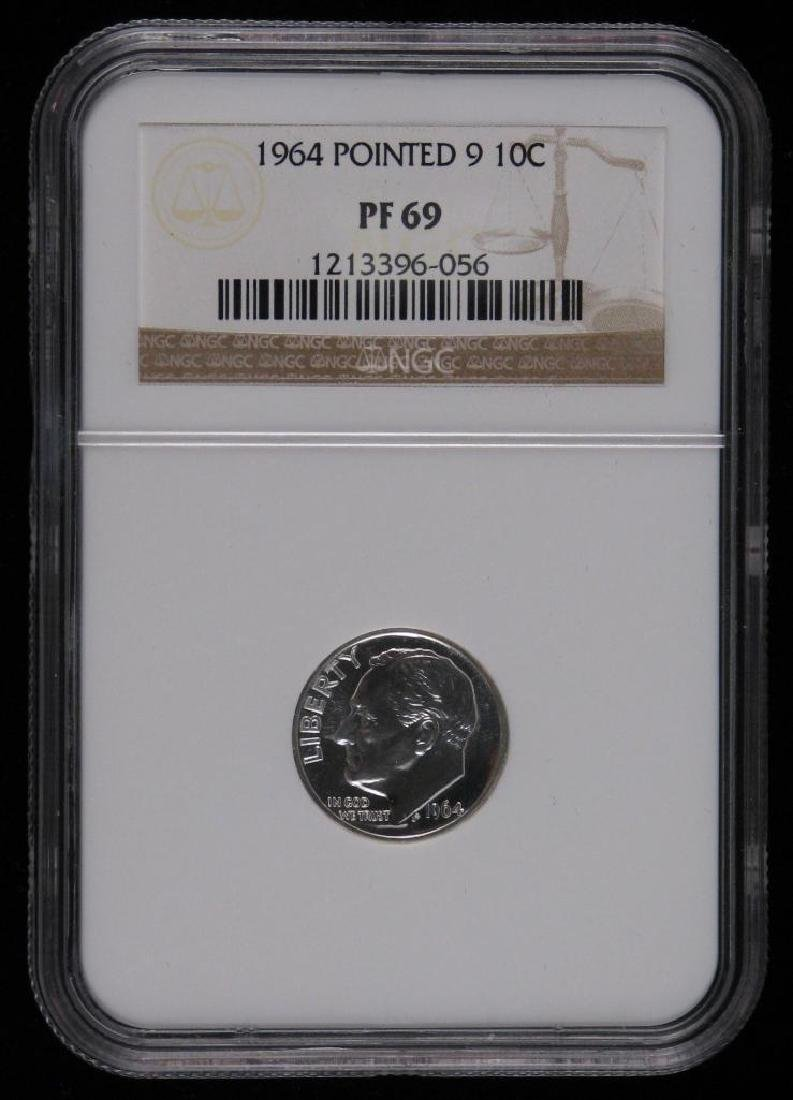 "1964-P Roosevelt Dime :ÊPointed ""9"" NGC PF69"