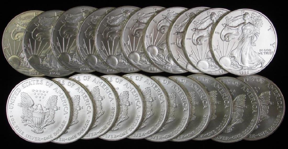 Lot of 20 : 1998 American Silver Eagles