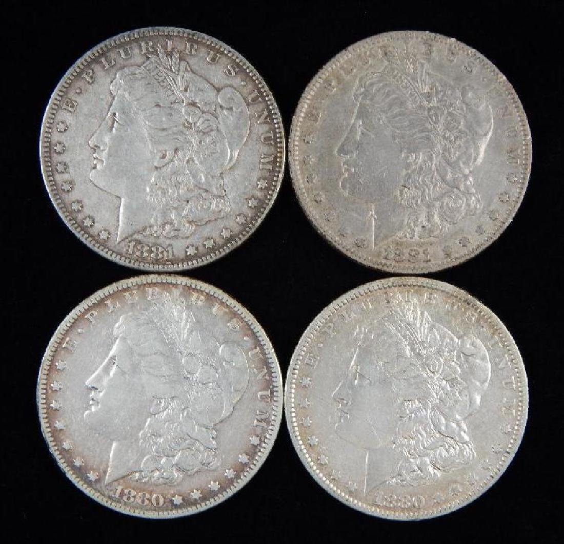Lot of 4 : Morgan Dollars (1880-1881)