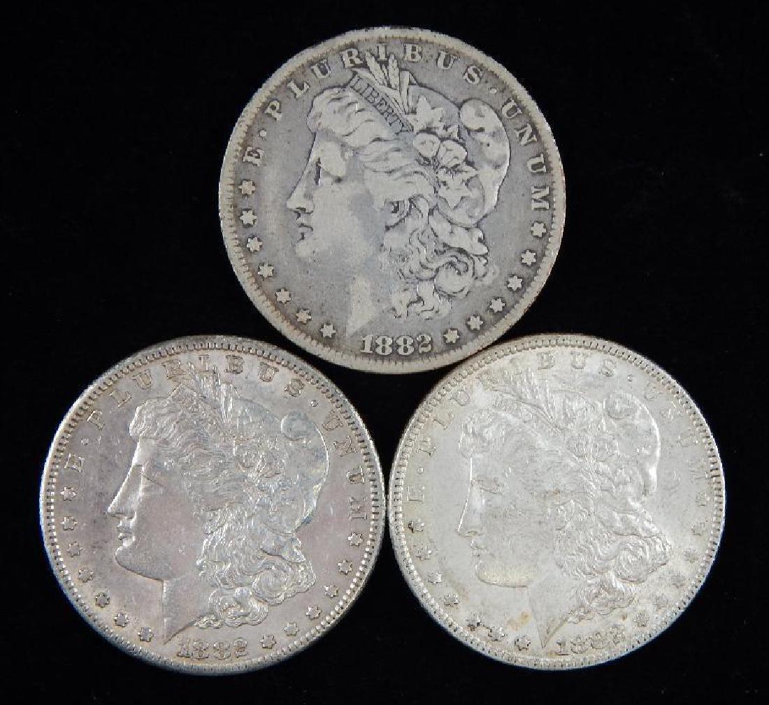 Lot of 3 : Morgan Dollars (1882)
