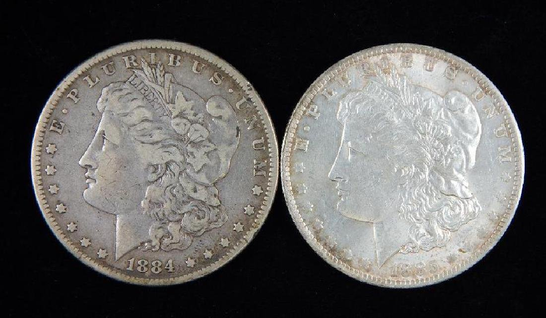 Lot of 2 : Morgan Dollars (1884-1885)