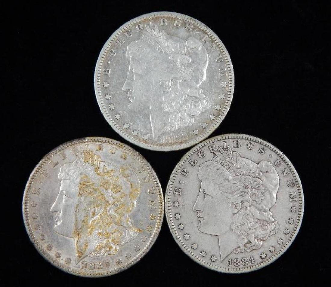 Lot of 3 : Morgan Dollars (1884-1887)