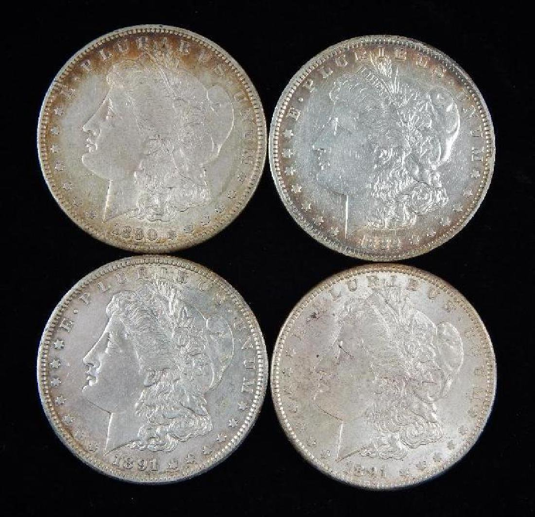 Lot of 4 : Morgan Dollars (1889-1891)