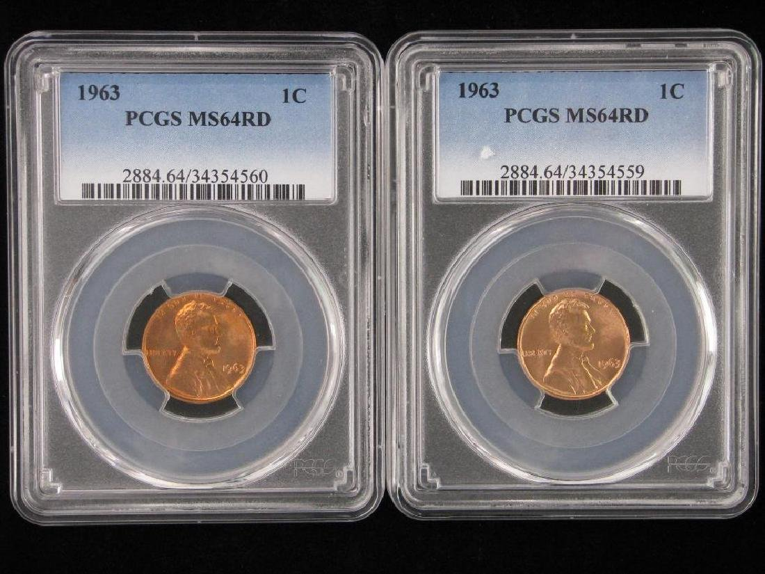 Lot of 2 : Lincoln Cents 1963-P