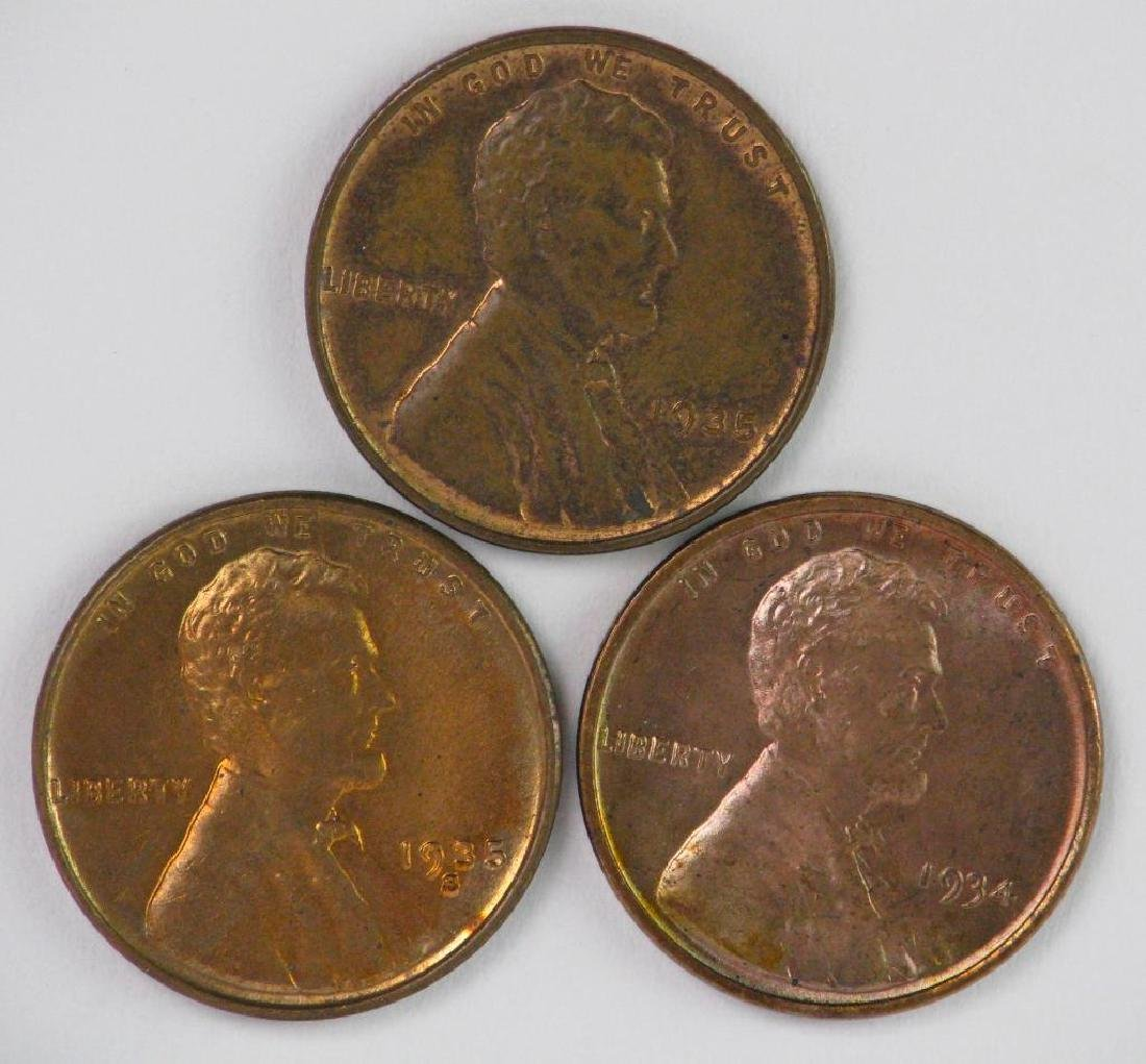 Lot of 3 : Lincoln Cents (1934-1935)