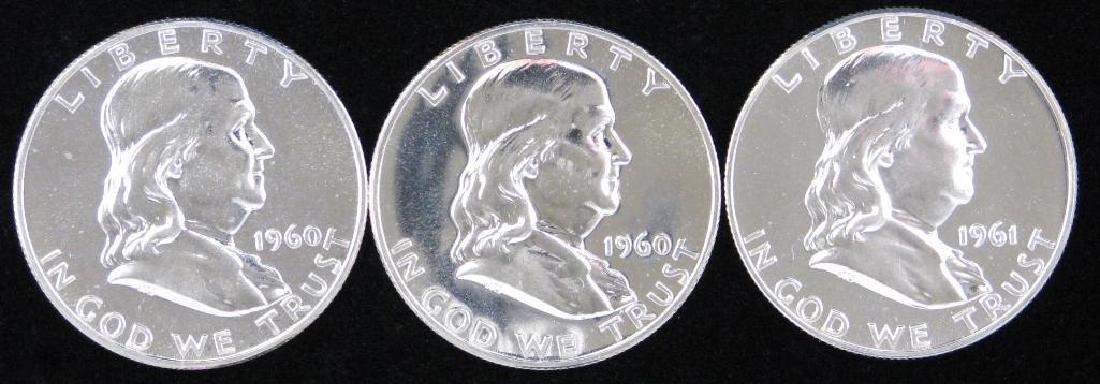 Lot of 3 : Franklin Half Dollars (1960-1961)