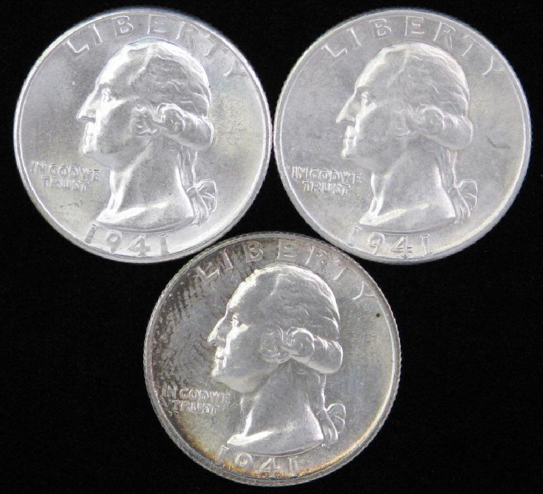 Lot of 3 : Washington Quarters (1941-P)