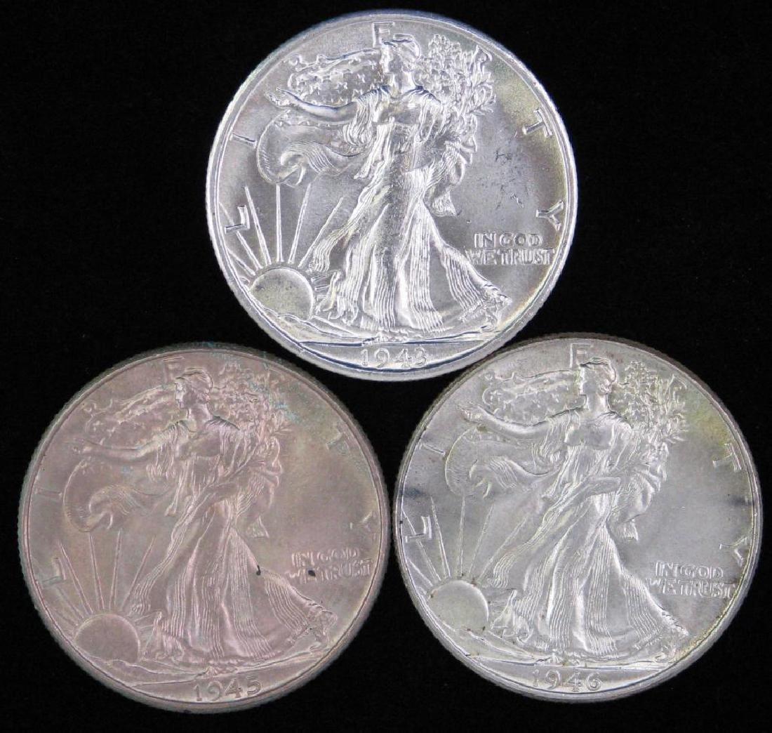 Lot of 3 : Walking Liberty Half Dollars (1943-1946)
