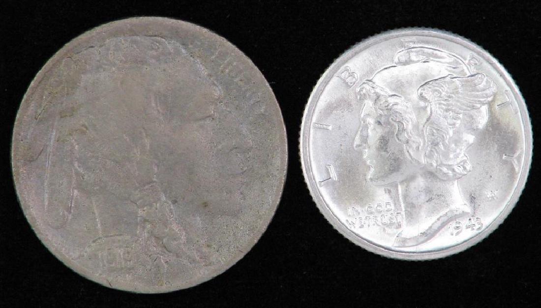 Lot of 2 coins : 1943-D Mercury Dime +1919-D Buffalo