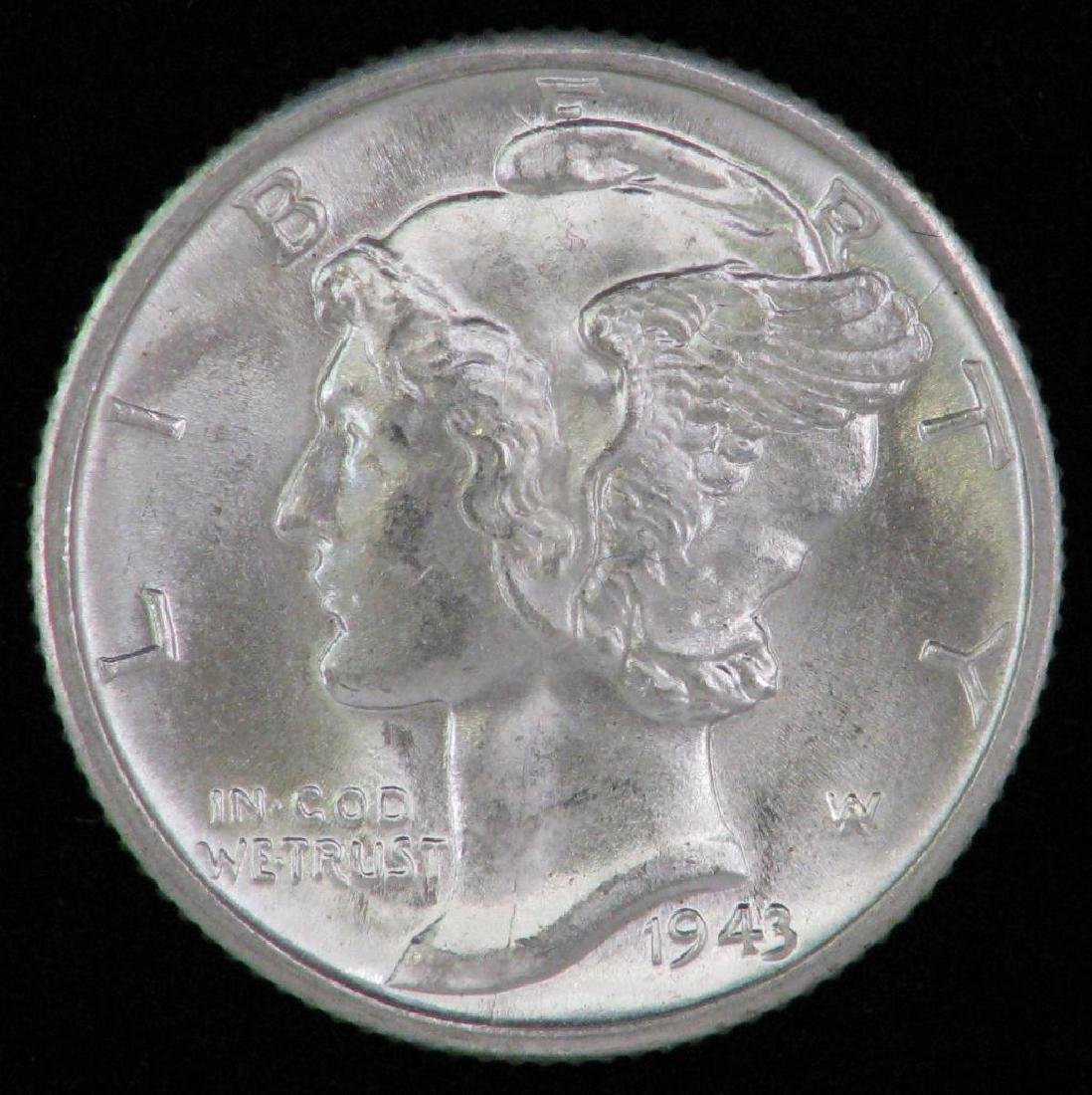 Lot of 2 coins : 1943-D Mercury Dime +1919-D Buffalo - 2