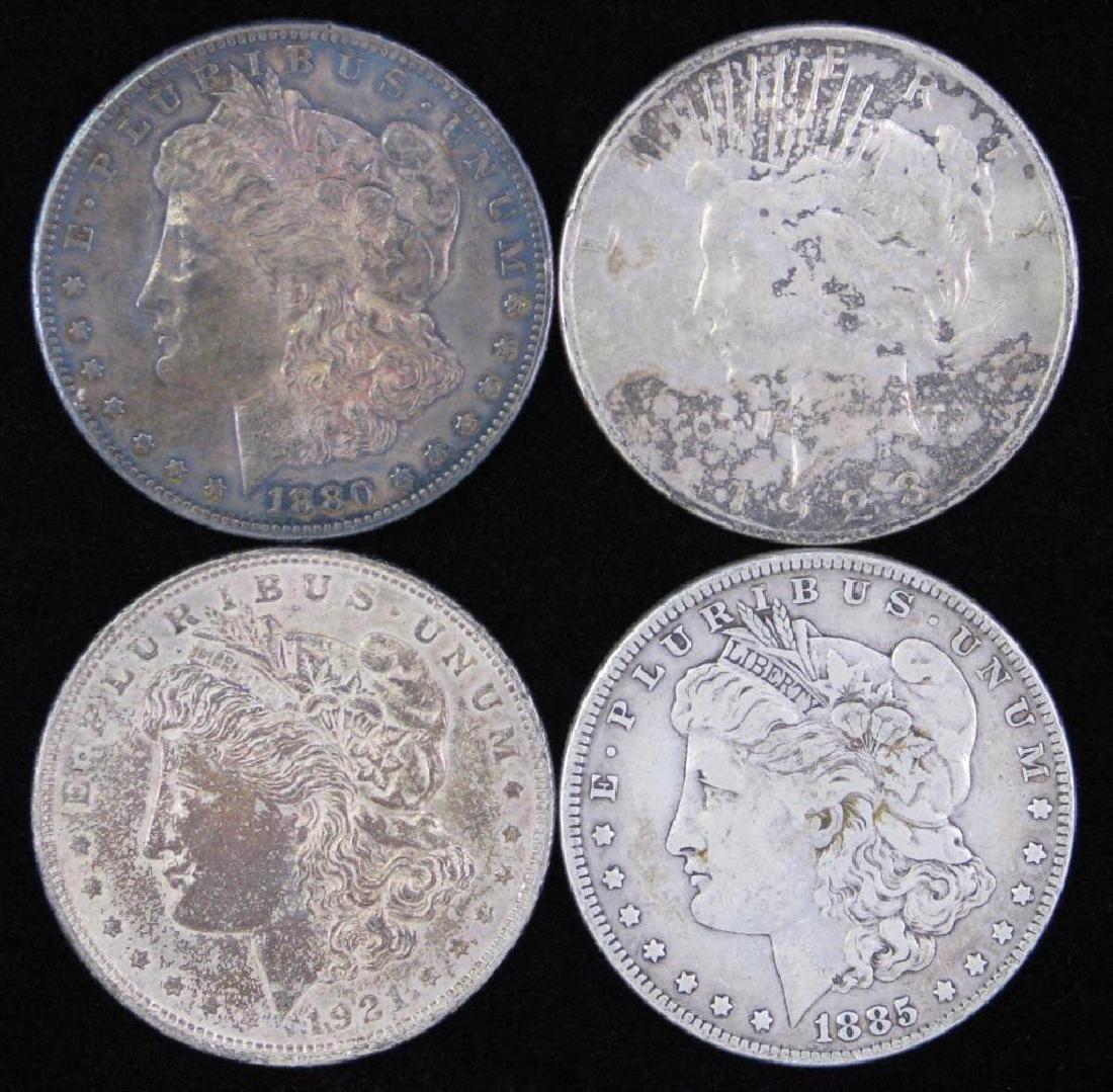 Lot of 4 Silver Dollars  :  3 Morgan Dollars