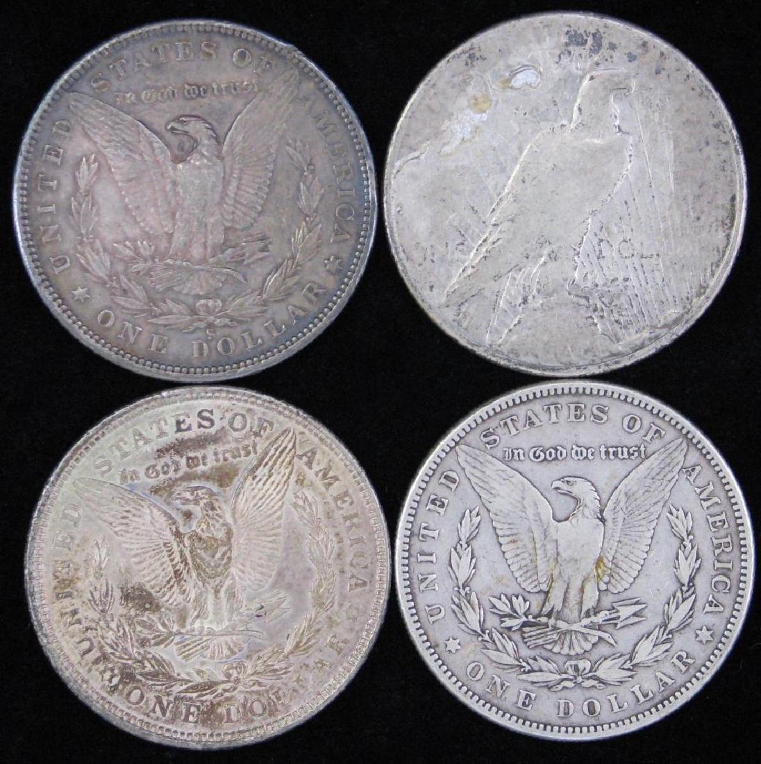 Lot of 4 Silver Dollars  :  3 Morgan Dollars - 2