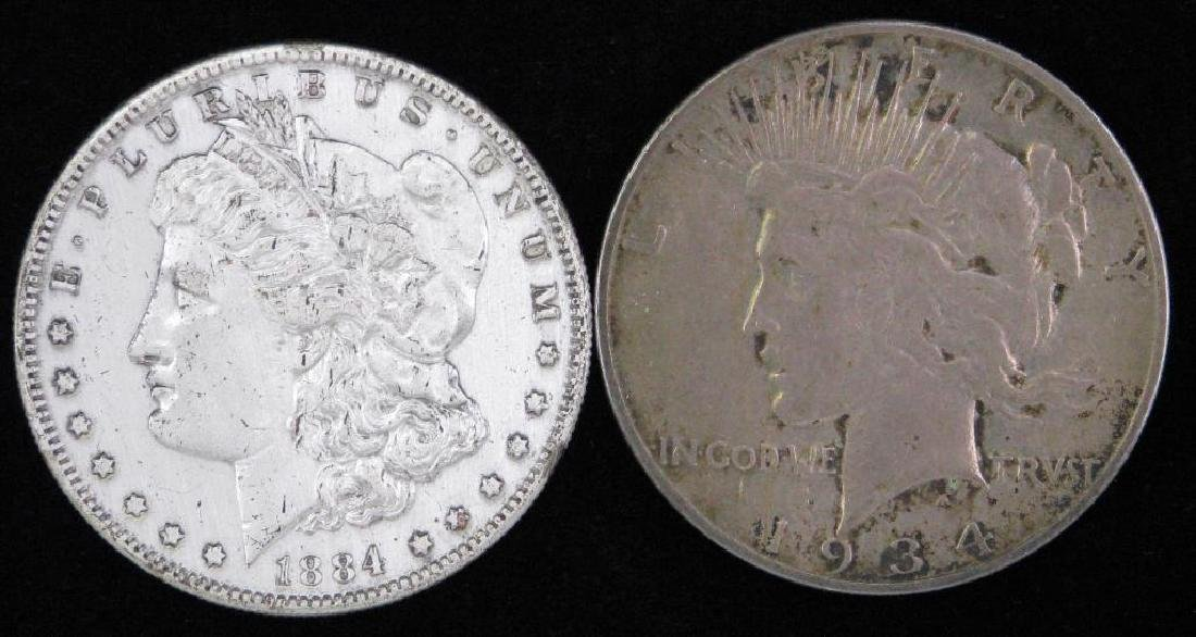 Lot of 2 Silver Dollars : 1884-S Morgan Dollar and