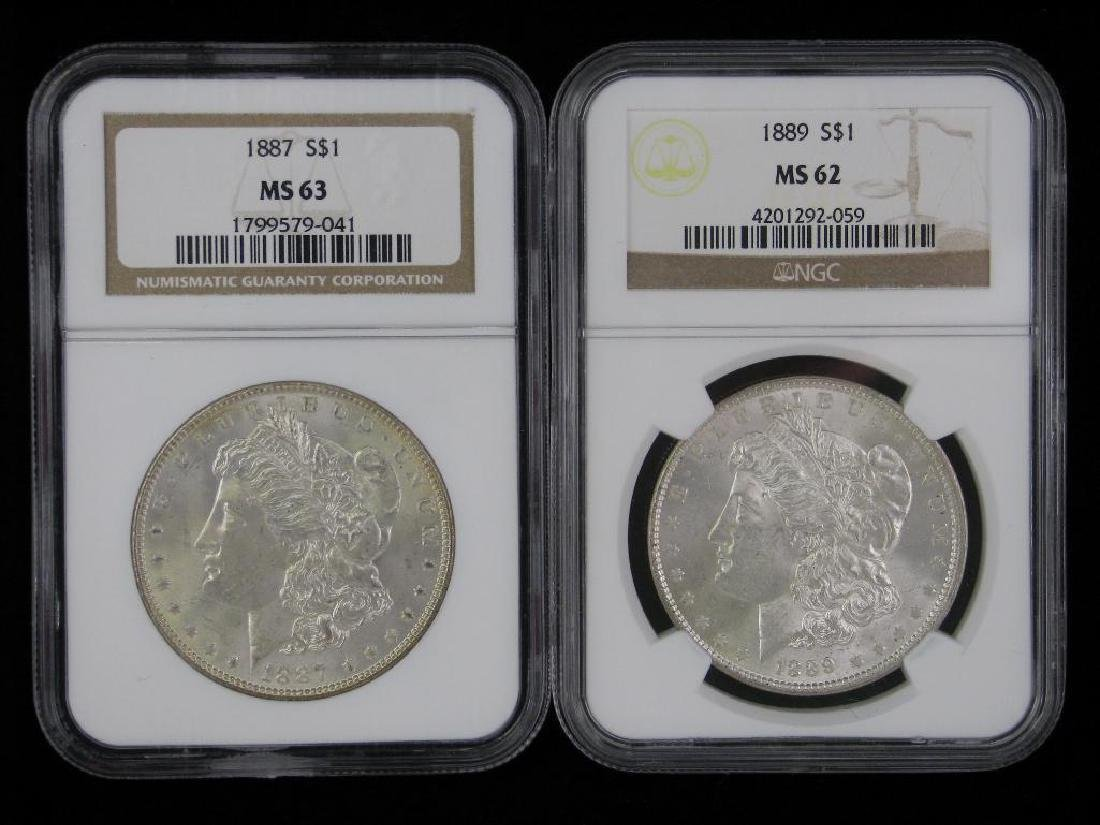 Lot of 2 : Morgan Dollars (1887-P; 1889-P)