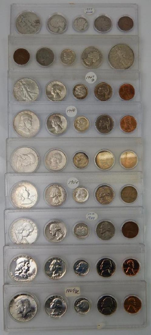 Lot of 9 Coin Sets : 1937-1964