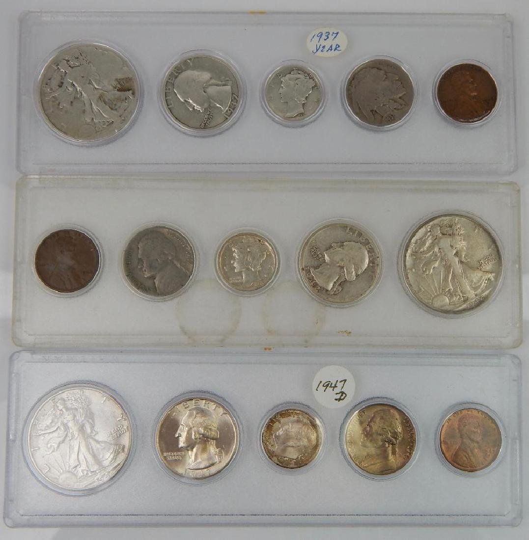 Lot of 9 Coin Sets : 1937-1964 - 2