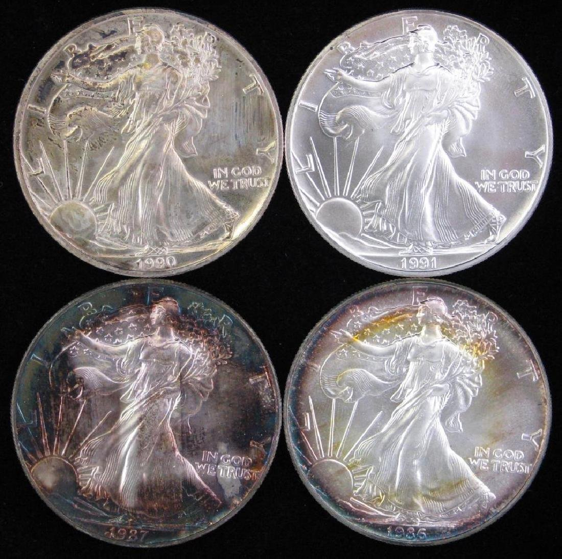 Lot of 4 : American Silver Eagles (1986-1991)