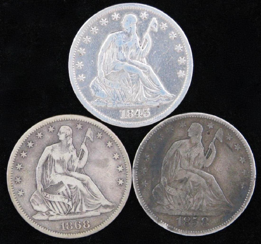 Lot of 3 : Liberty Seated Half Dollars