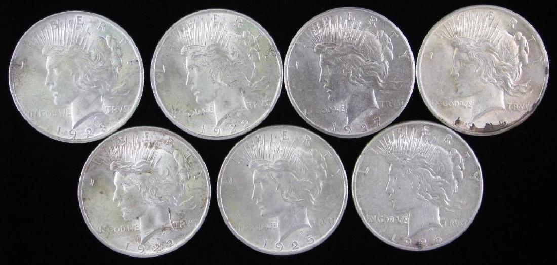 Lot of 7 : Peace Dollars 1922-1927
