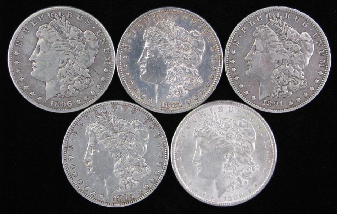 Lot of 5 : Morgan Dollars 1879-1896