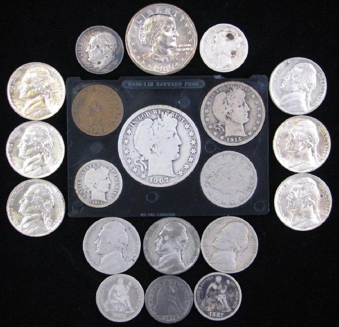 Lot of Dimes, Nickels, Vintage U.S. Coin Set and Modern