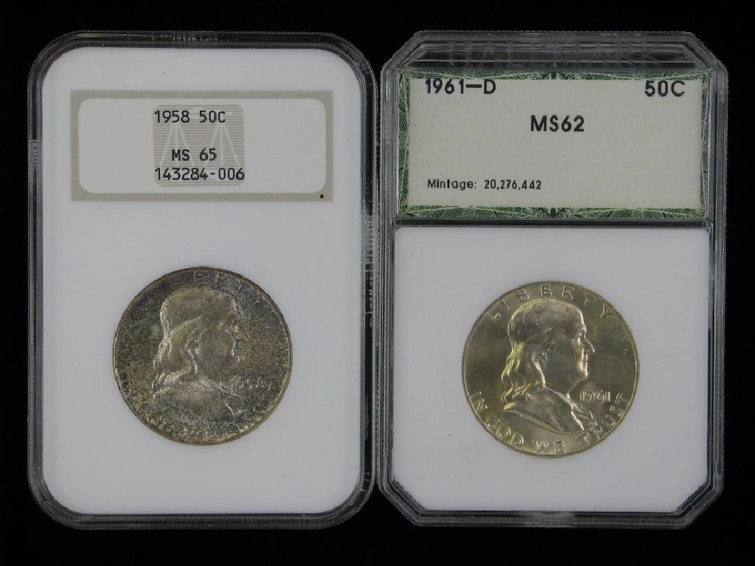 Lot of 2 : Franklin Half Dollars (1958 + 1961)