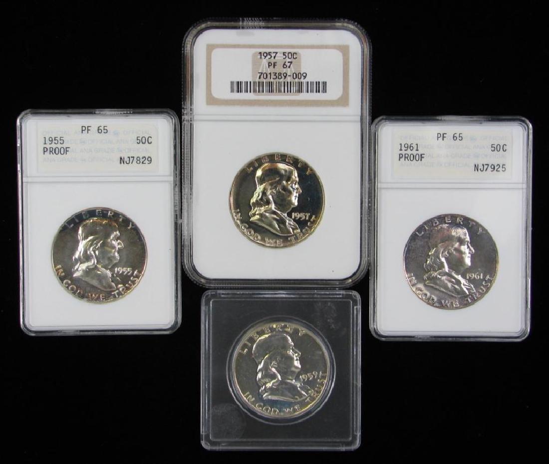 Lot of 4 : Franklin Half Dollars (1955-1961)